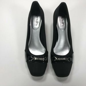 Coach And Four, Slip On Wedges Shoes Black Fabric